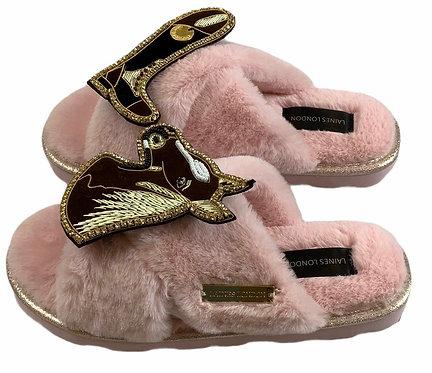 Ultralight Chic Slippers / Slider Deluxe Chestnut Horse & Riding Boot Brooch