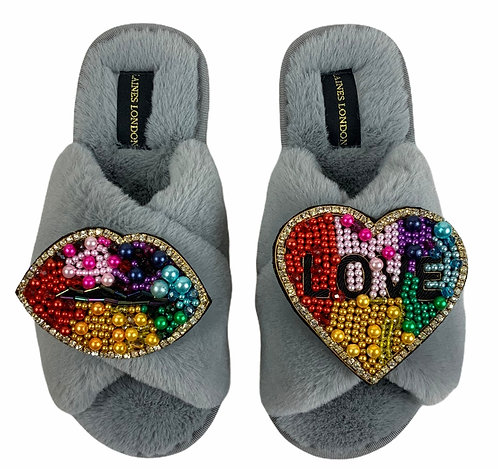 Classic Laines Slippers with Double Deluxe Rainbow Lips & LOVE Brooch