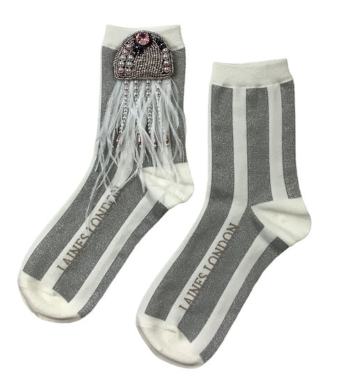 White & Silver Shimmer Stripe Cotton Socks With Artisan Silver Jellyfish Brooch
