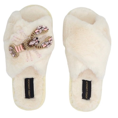 Cream Fluffy Slippers with Pink and Gold Lobster