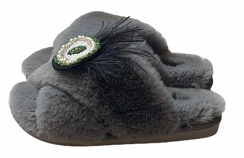 Laines Cloud Grey Slippers with Artisan Feather Green Eye Brooch