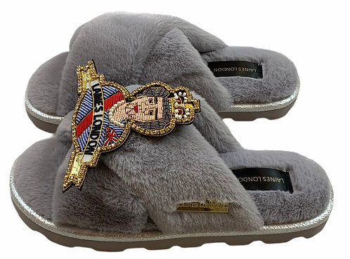 Ultralight Chic Slippers / Sliders with Deluxe Queen Brooch
