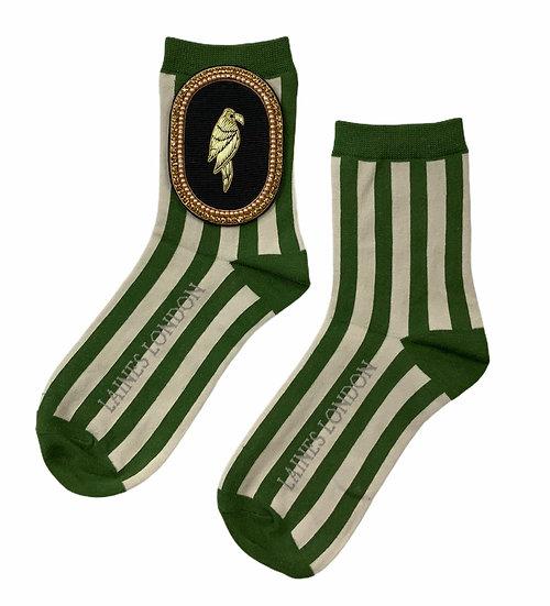 Green & Cream Stripe Socks With Artisan Deluxe Black Parrot Brooch