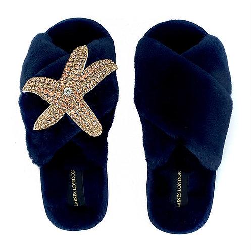Navy Fluffy Slippers Rose Gold Starfish Brooch