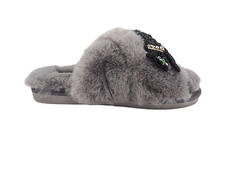 Laines Cloud Grey Slippers with Crystal Jet Panther