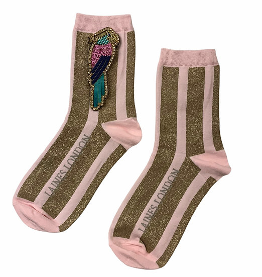 Pink & Gold Shimmer Stripe Socks With Deluxe Colourful Parrot Brooch