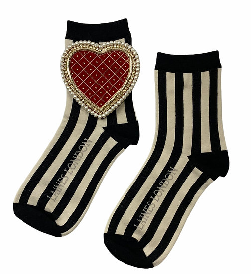 Black & Cream Red Stripe Socks With Deluxe Artisan Red Quilted Heart Brooch
