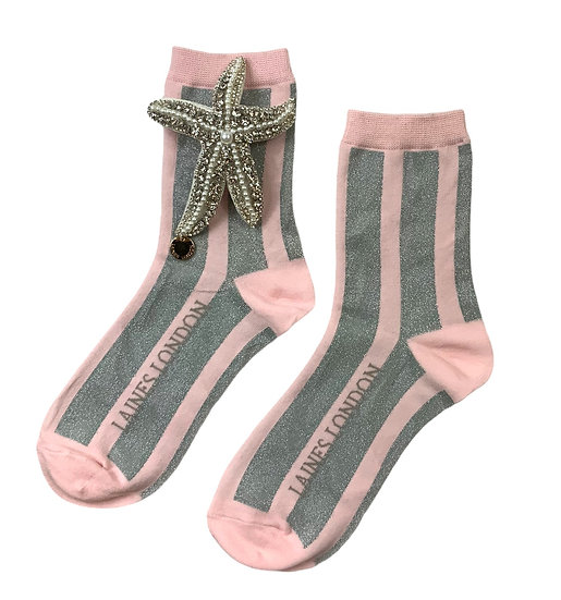 Pink & Silver Shimmer Stripe Cotton Socks With Artisan Silver Starfish Brooch