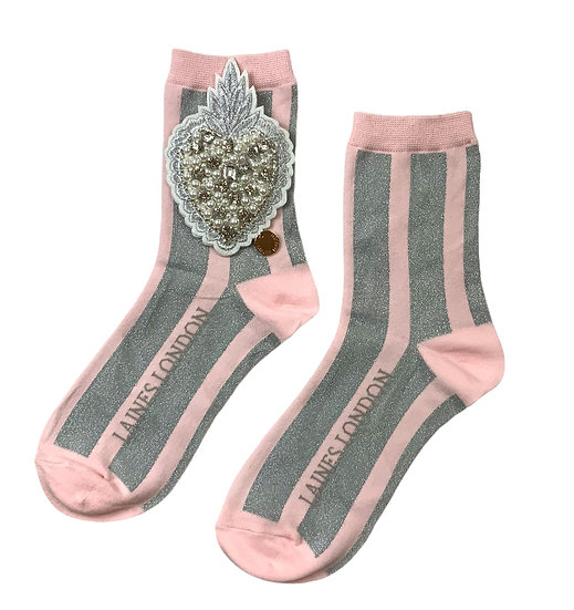 Pink & Silver Shimmer Stripe Cotton Socks With Artisan Pearl Heart Brooch