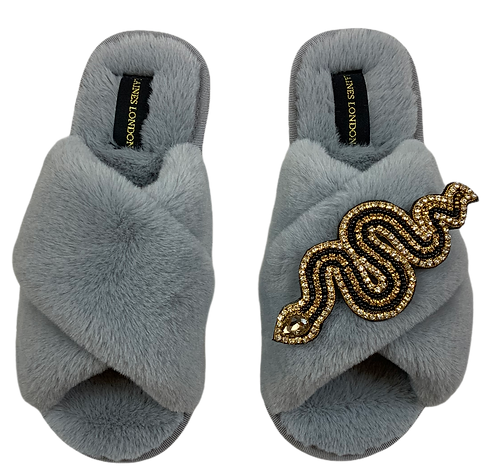 Classic Laines Slippers Gold Crystal & Black Artisan Snake Brooch