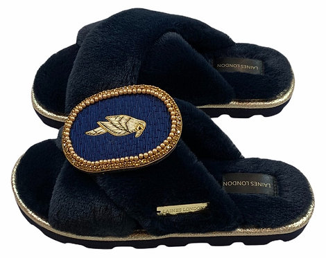 Ultralight Chic Slippers / Sliders with Deluxe Navy Parrot Brooch