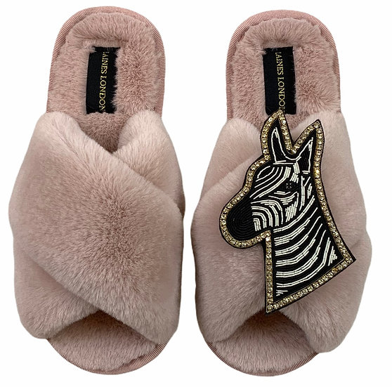 Classic Laines Slippers with Deluxe Diamante Zebra Brooch