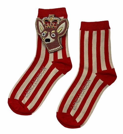 Red & Cream Stripe Cotton Socks With Deluxe Artisan Royal Corgi Brooch