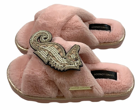 Ultralight Chic Slippers / Sliders with Deluxe Pink Seahorse Brooch