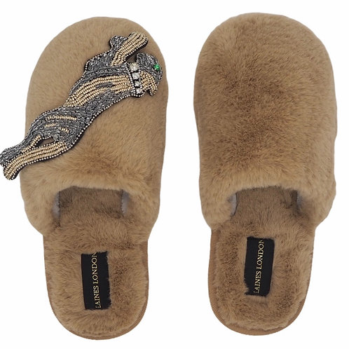 Closed Toe Caramel Fluffy Slippers with Platinum Panther