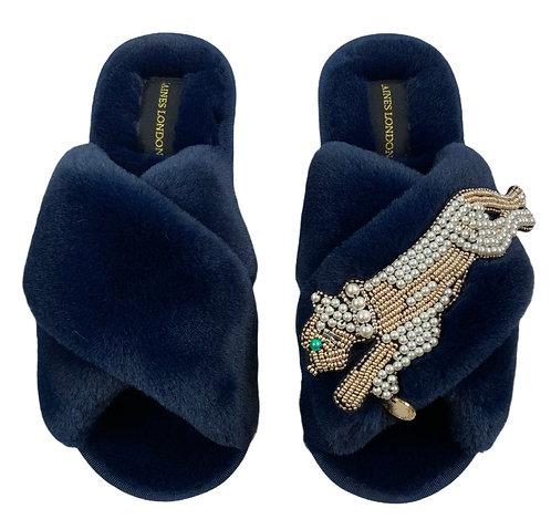 Navy Fluffy Slippers with Pearl and Gold Panther Brooch
