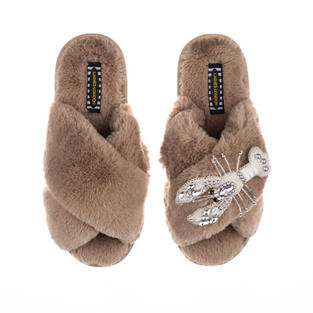 Artisan Pearl & Silver Lobster on Toffee Classic Slippers