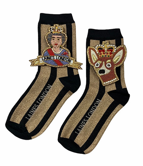 Black & Gold Shimmer Stripe Socks With Double Deluxe Artisan Queen & Corgi