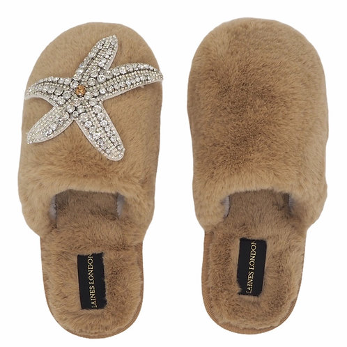 Closed Toe Caramel Fluffy Slippers with Silver Starfish