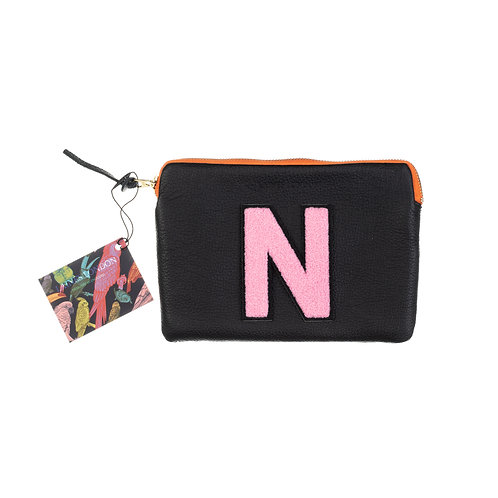 Personalised Small Classic Leather Clutch Bag - Black