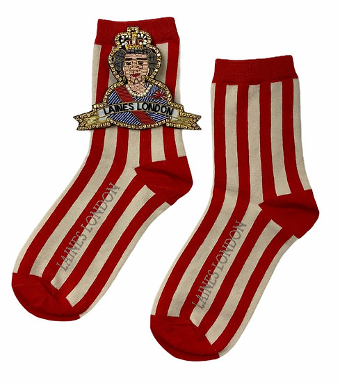 Red & Cream Stripe Cotton Socks With Deluxe Artisan Queen Brooch