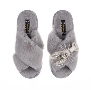 Artisan Pearl & Silver Lobster on Grey Classic Slippers