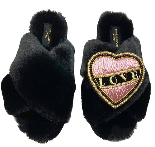 Laines Cloud Black Slippers With Pink & Black Deluxe Love Brooch WIDE FIT