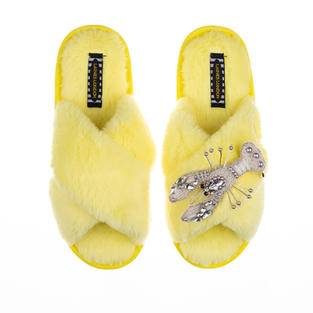 Artisan Pearl & Silver Lobster on Lemon Classic Slippers