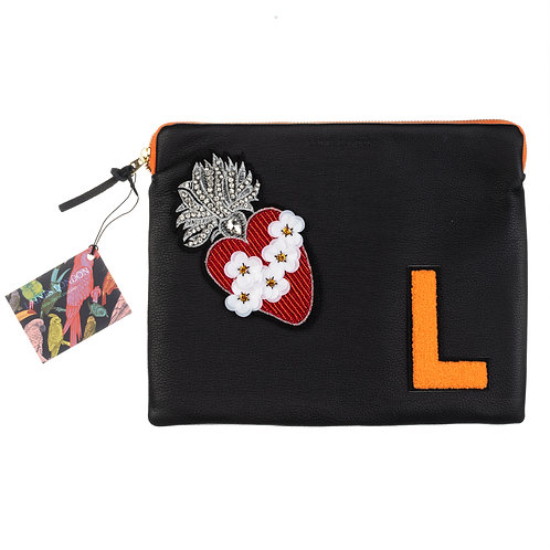 Embellished Personalised Classic Leather Clutch Bag - Black