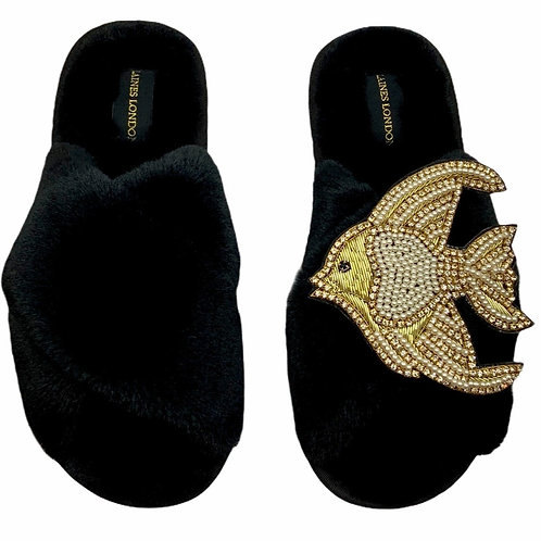 Black Fluffy Slippers with Deluxe Crystal and Pearl and Gold Angel Fish Brooch