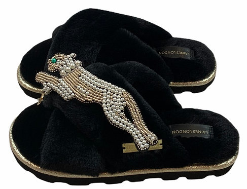 Ultralight Chic Slippers / Sliders With Artisan Pearl & Gold Panther Brooch