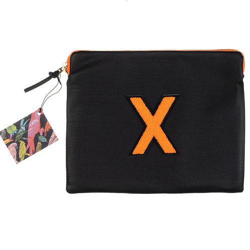 Personalised Large Classic Leather Clutch Bag - Black