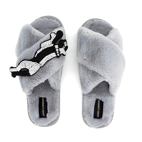 Grey Fluffy Slippers with Monochrome Panther Brooch
