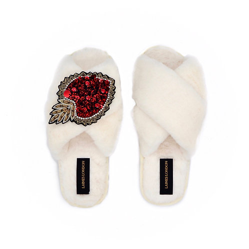 Cream Fluffy Slippers With Statement Heart Brooch