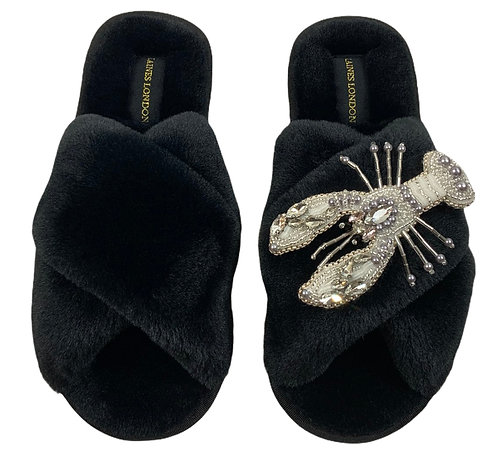 Black Fluffy Slippers Pearl and Crystal Lobster Brooch