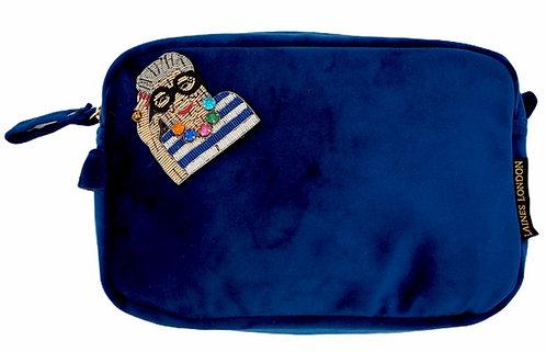 Laines London LUXE Navy Velvet Bag With Deluxe Iris Brooch