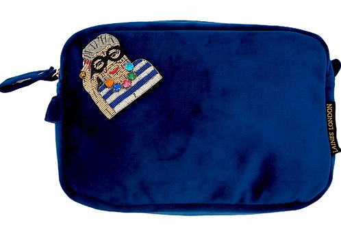 Laines London LUXE Navy Velvet Bag With Deluxe Iris Brooch