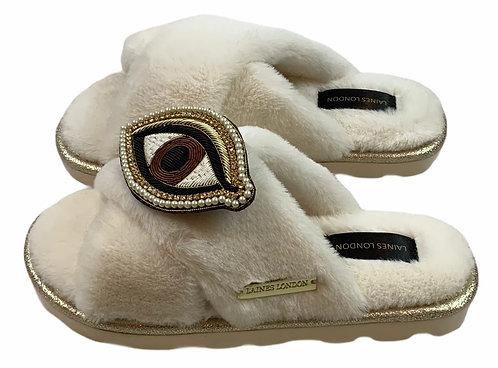 Ultralight Chic Slippers / Sliders With Artisan Brown Eye Brooch