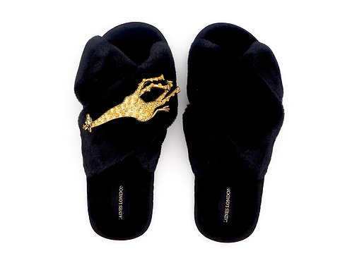 Black Fluffy Slippers with Laines Luxe Giraffe Brooch