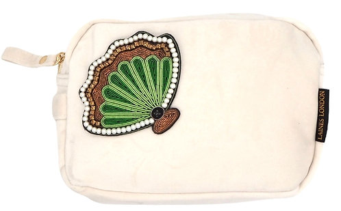 Laines London Luxe Cream Velvet Bag With Deluxe Shell Brooch