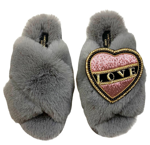 Laines Luxe Fluffy Grey Slippers With Pink & Black Love Brooch