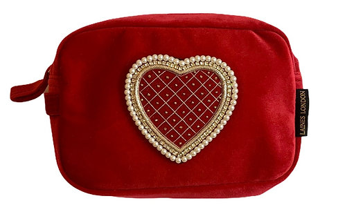 Laines London Luxe Red Velvet Bag With Red Quilted Heart Brooch