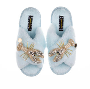 Artisan Double Pearl & Gold Lobster on Powder Blue Classic Slippers