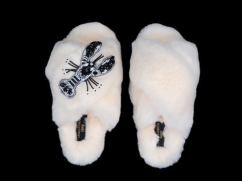 Laines Luxe Fluffy Cream Slippers With Crystal Monochrome Brooch