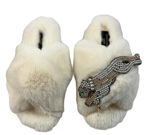 Laines Fluffy Cloud Cream Slippers With Artisan Panther in Pearl & Gold Brooch