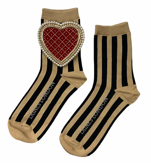 Black & Beige Stripe Cotton Socks With Deluxe Red Quilted Heart Brooch