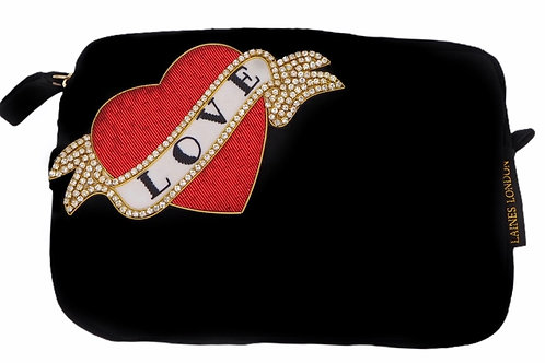 Laines London Luxe Black Velvet Bag With Deluxe Red Heart Love Tattoo Brooch