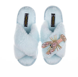 Artisan Pearl & Pink Lobster on Powder Blue Classic Slippers