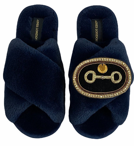 Classic Laines Slippers with Deluxe Horse-Bit Brooch