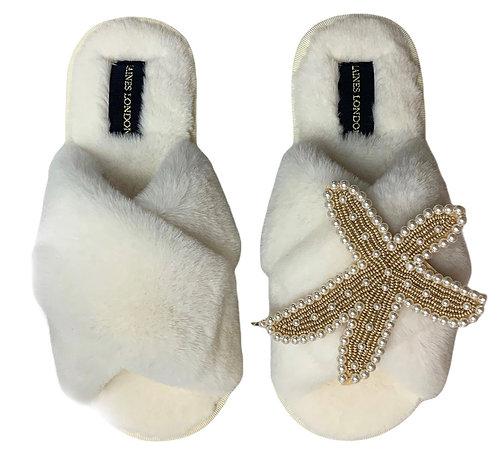 Cream Fluffy Slippers Pearl & Gold Starfish Brooch